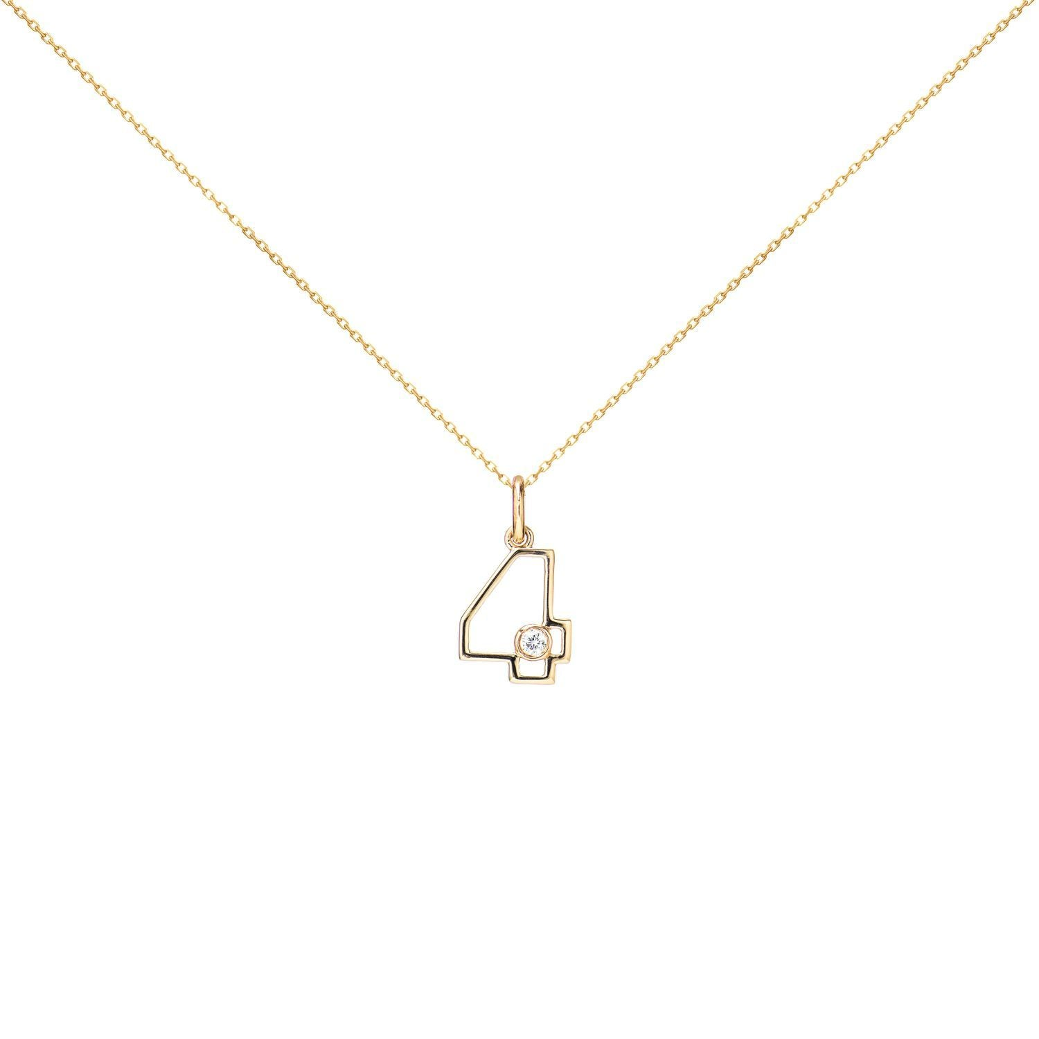 14k Yellow Gold Diamond Four Necklace