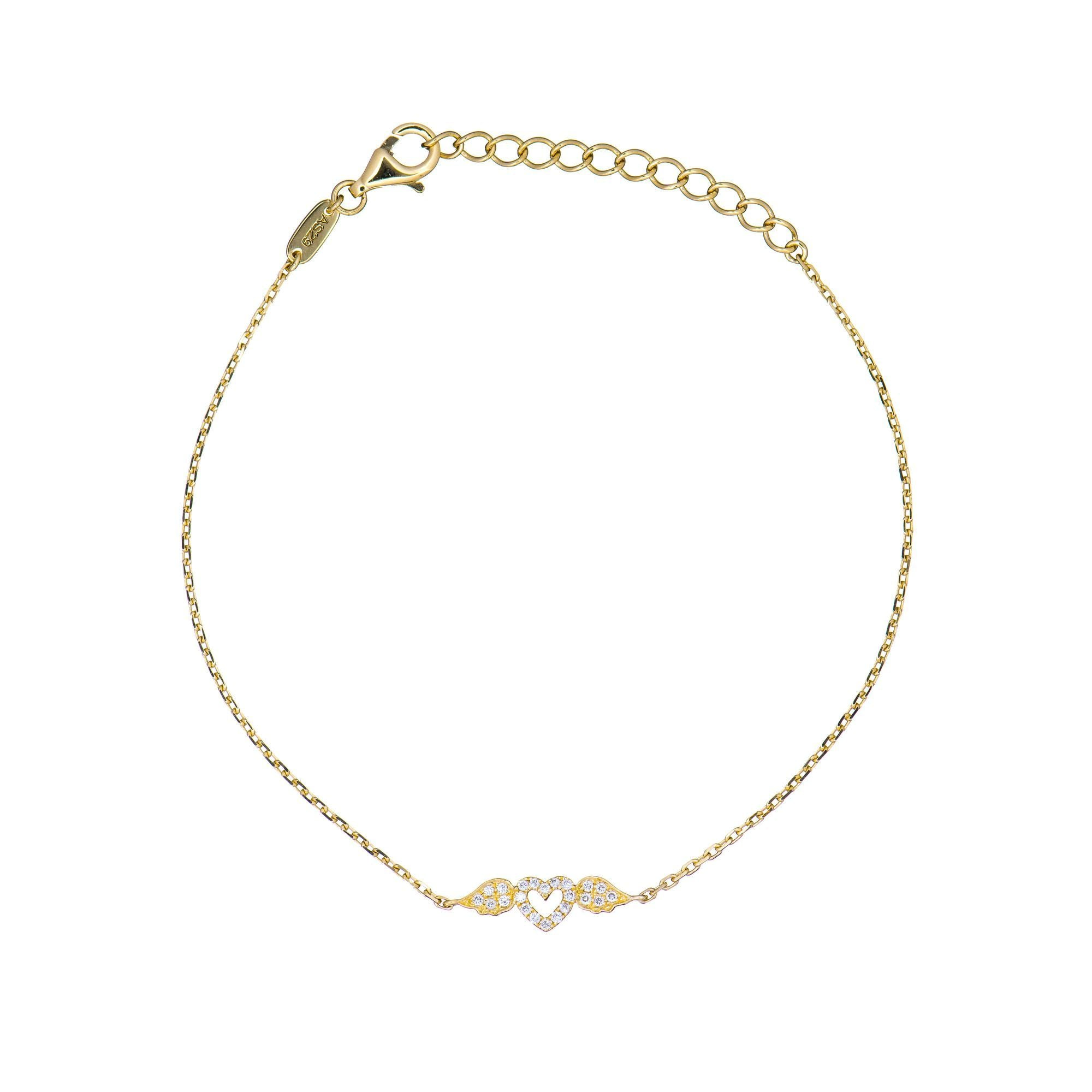 18k Yellow Gold White Diamond Heart With Wings Bracelet