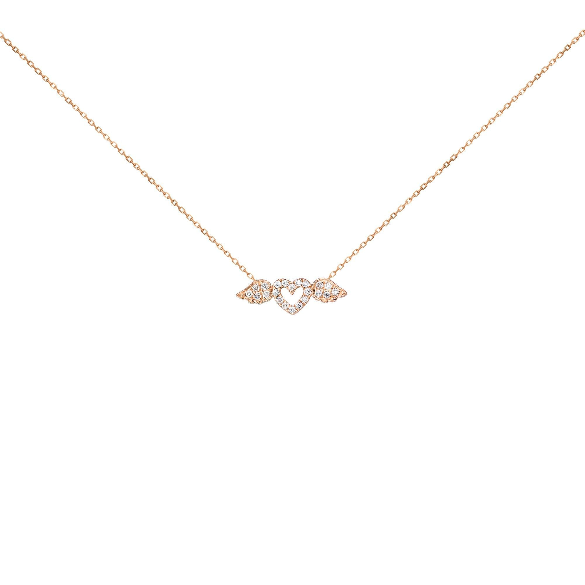 18k Pink Gold White Diamond Heart With Wings Necklace