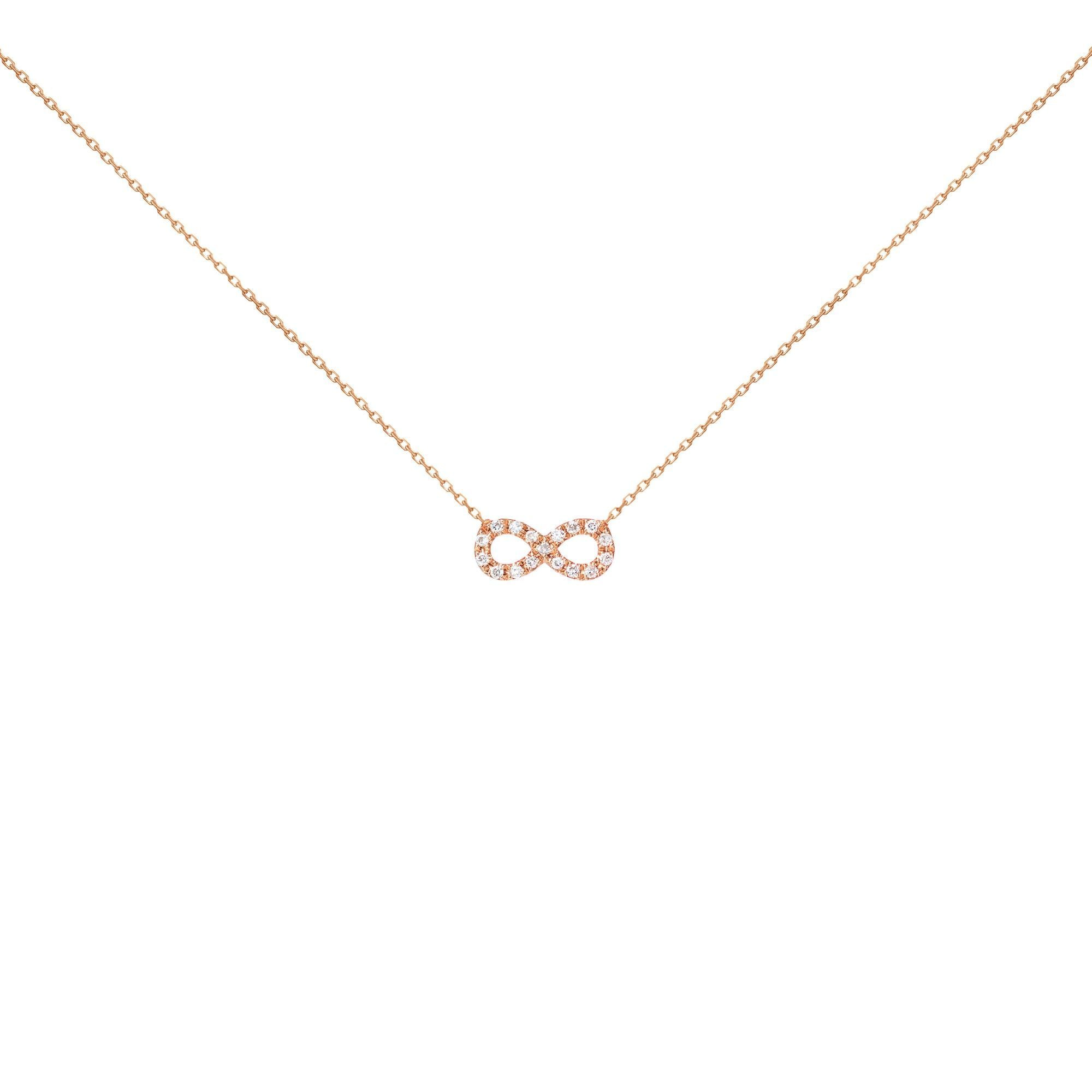 18k Pink Gold White Diamond Infinity Necklace