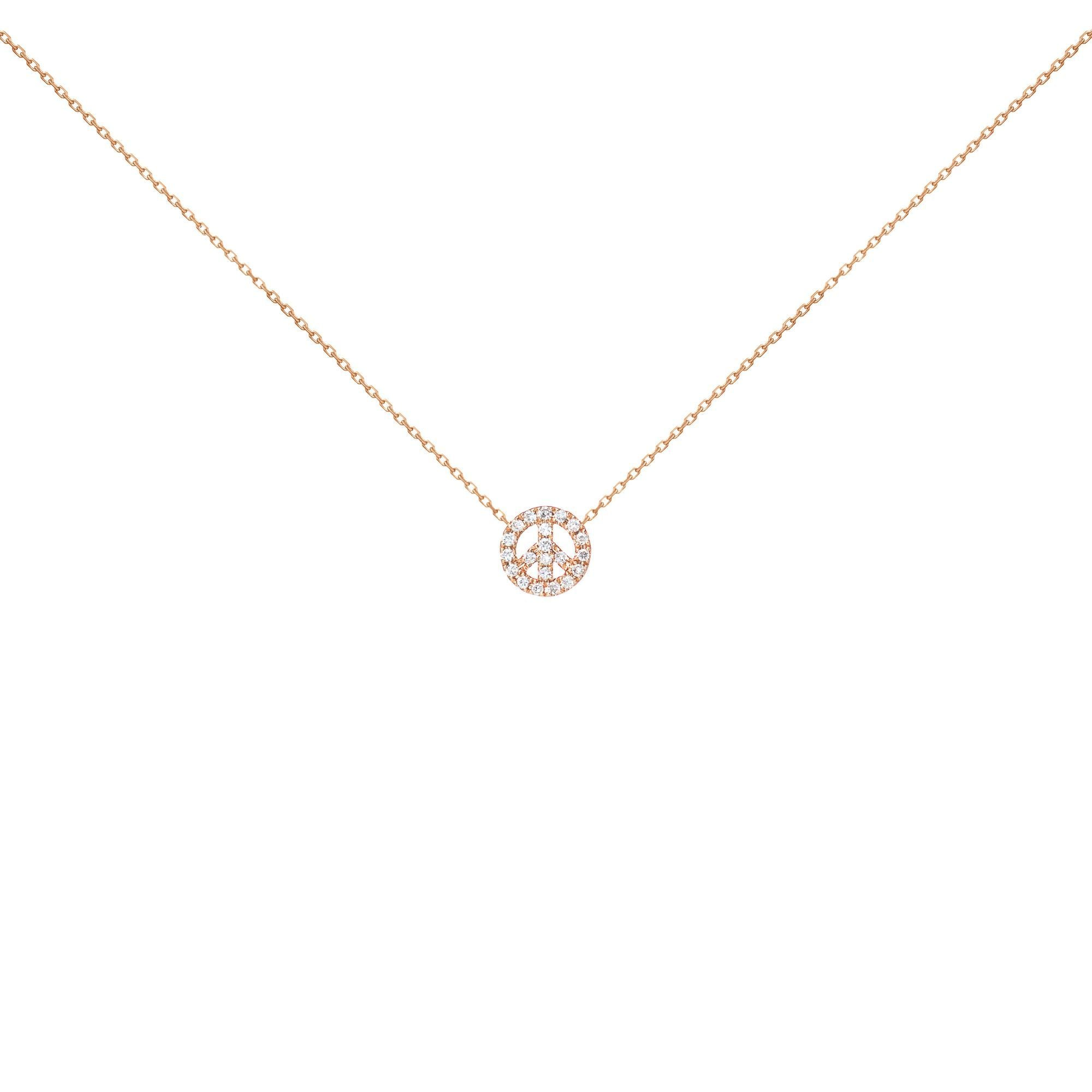 18k Pink Gold White Diamond Peace Necklace