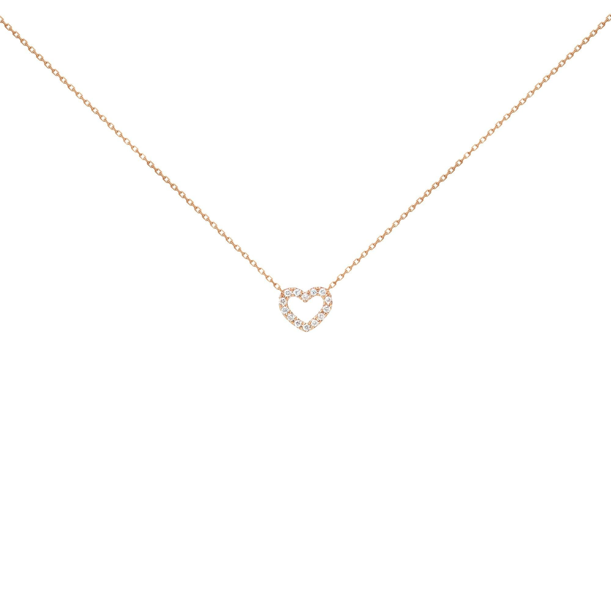 18k Pink Gold White Diamond Open Heart Necklace
