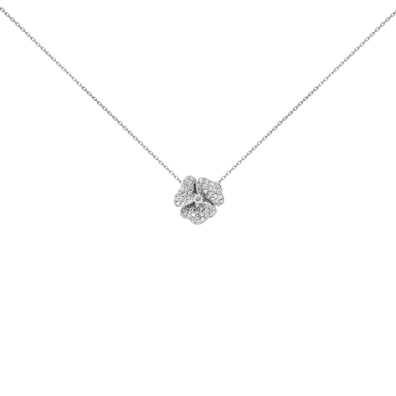 18k White Diamond White Sapphire Center Flower Necklace Medium