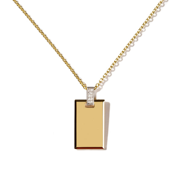 Medium Diamond Tag Necklace