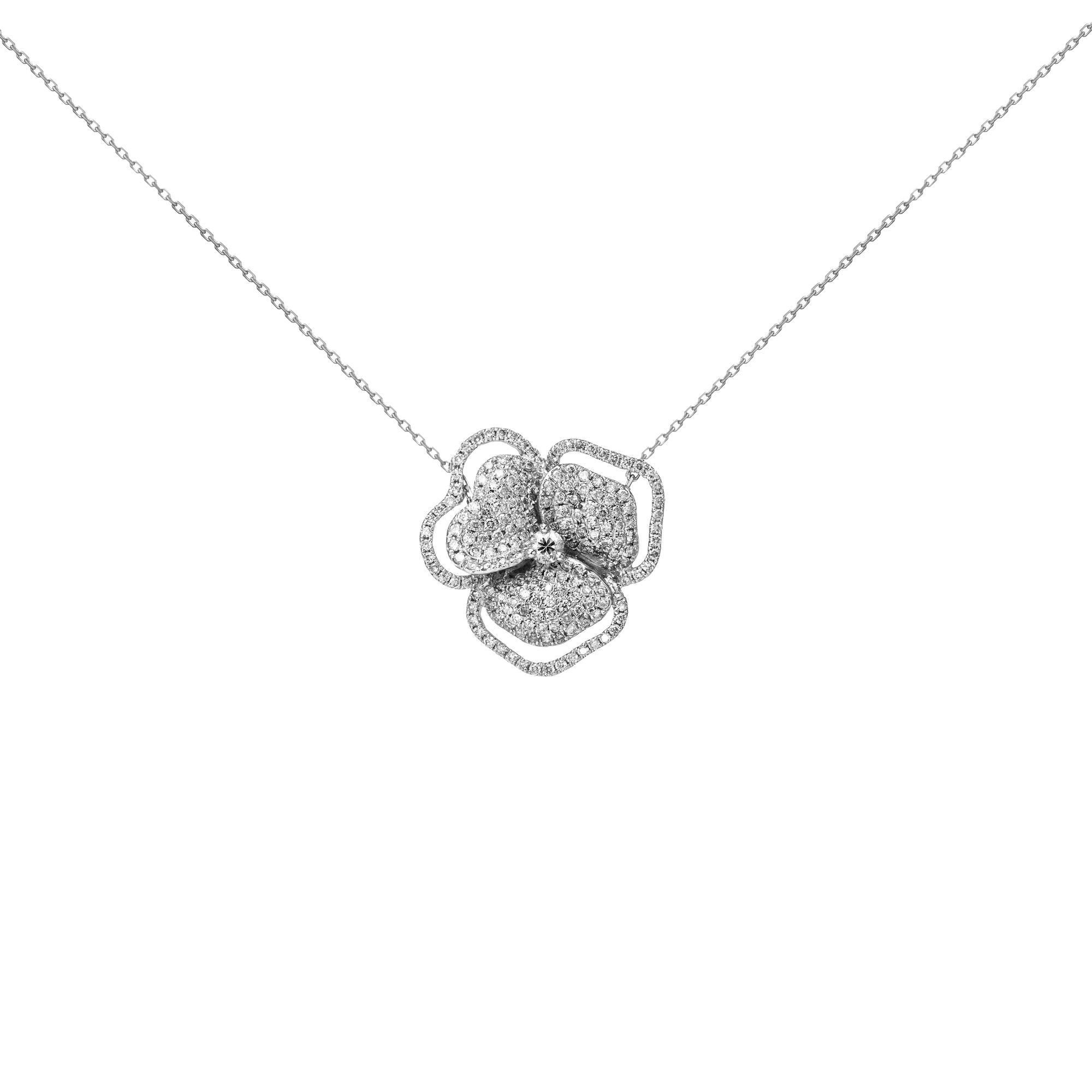 18k White Diamond White Sapphire Center Flower Line Necklace Large