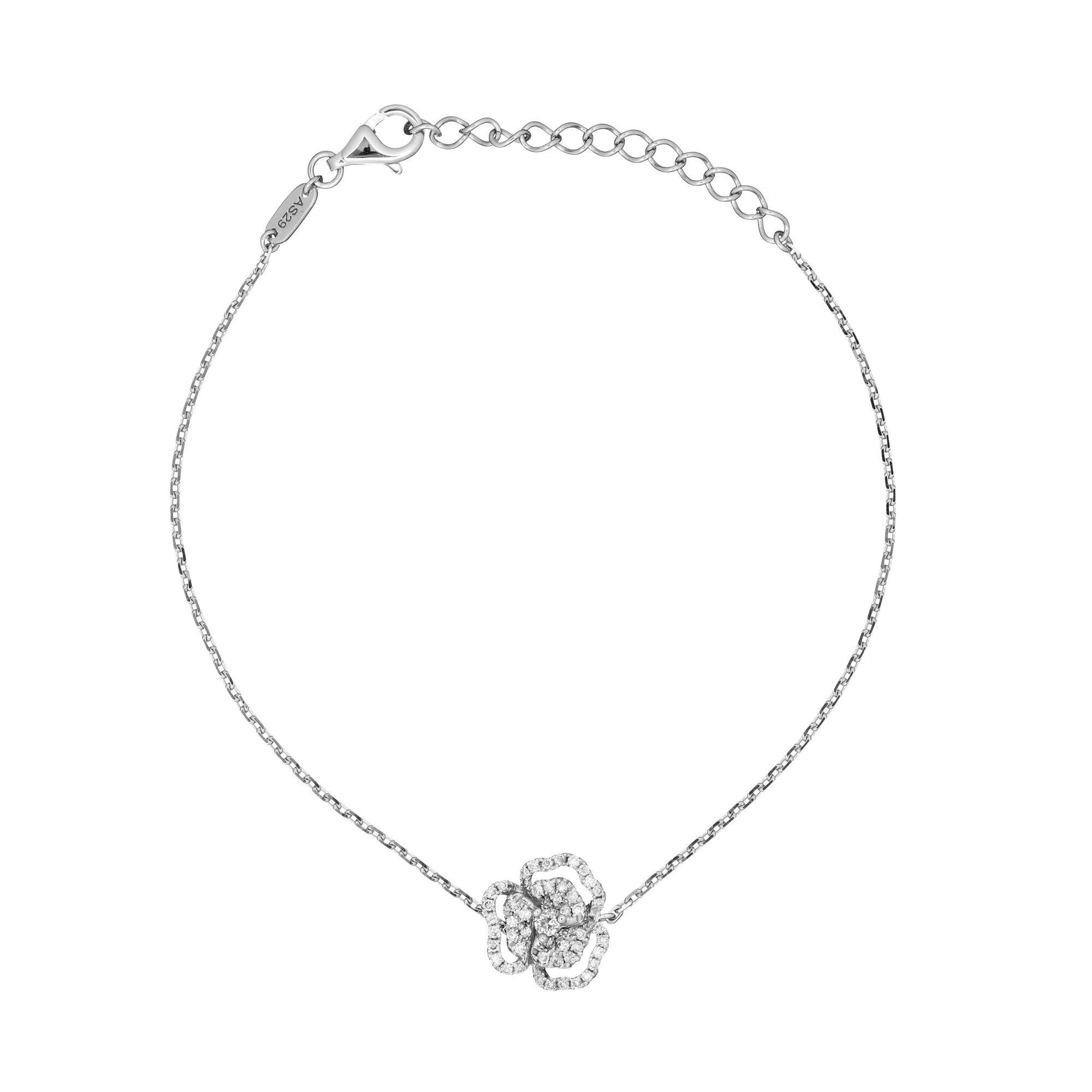 18k White Gold White Diamond Flower Line Bracelet Small 7mm