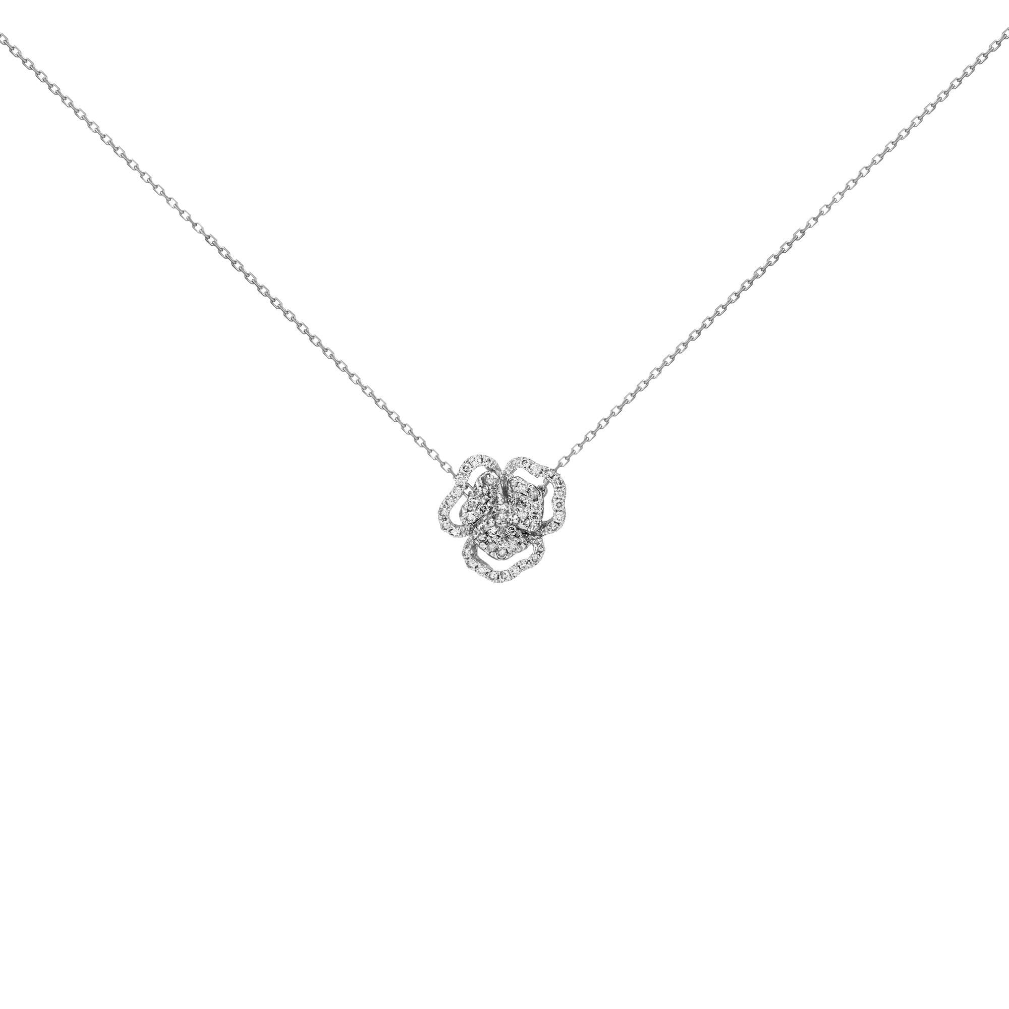 18k White Diamond White Sapphire Center Flower Line Necklace Small