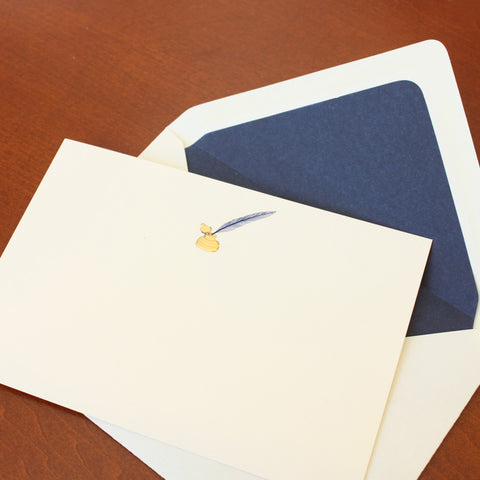 Quill and Inkwell Correspondence Cards