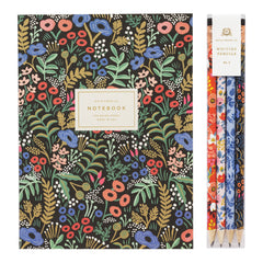Floral Notebook and Pencils