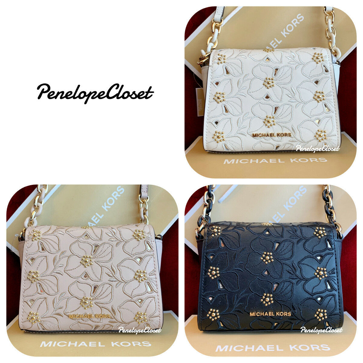 e510fbecdc8c NWT MICHAEL KORS FLORAL STUDDED LEATHER SOFIA SMALL CROSSBODY BAG IN VARIOUS