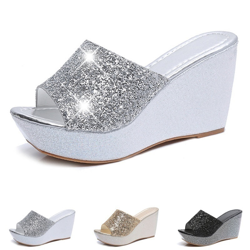 02f515993 Women Summer Casual High Heel Wedge Skid Slippers Sandals Silver Bling Flip  Flops Shoes