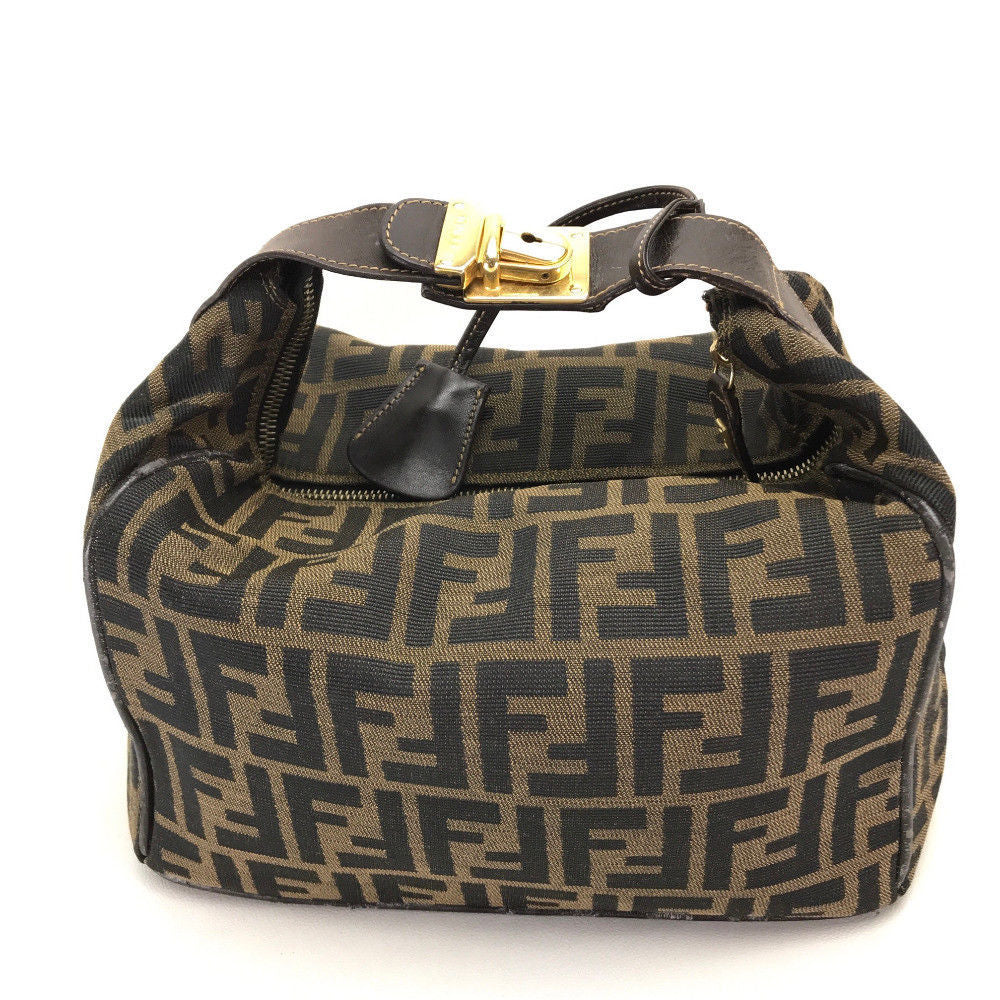 dae70c21f952 AUTHENTIC FENDI Zucca pattern Hand Bag Brown Canvas x Leather ...