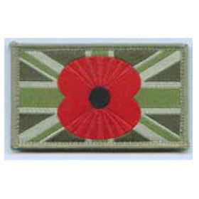 Large Union Patch, MTP, with Poppy in centre - 80 x 50mm