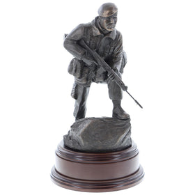 British Army 1980's Soldier with SLR, Bronze with Cap Badge and Engraving