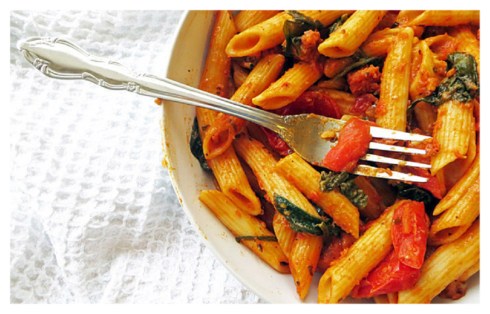 Spinach, Chorizo and Red Pesto Penne