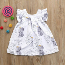 Elegant Elephant Print Baby Girl Dress
