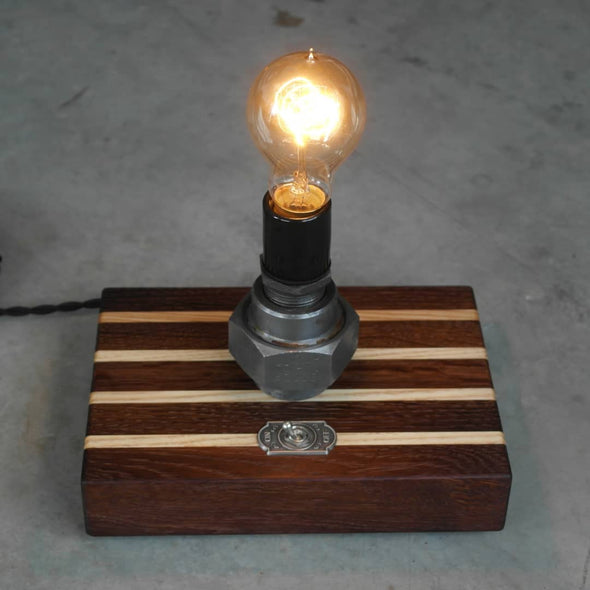 Ash Wood & Roasted Oak Steel Union Lamp - Todd Alan Woodcraft