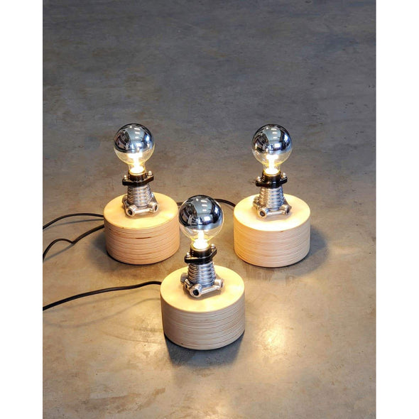 Baltic Birch Polished Aluminum Pod Light - Todd Alan Woodcraft