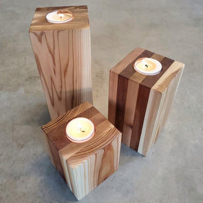 Reclaimed Cedar Tea Light Candle Pillars (set of 3) - Todd Alan Woodcraft