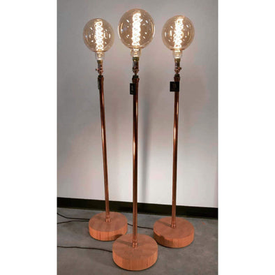 Polished Copper Grand Edison Floor Lamps in Vertical Grain Fir Base - Todd Alan Woodcraft