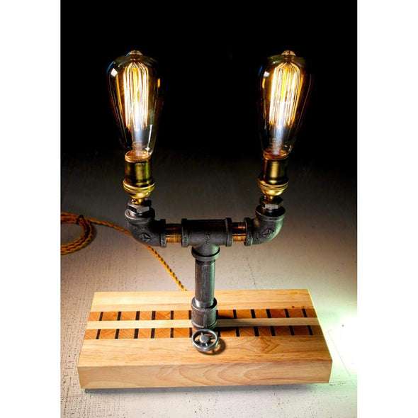 Dual Steel & Brass Edison Lamp with Dimmer in custom French Oak base - Todd Alan Woodcraft