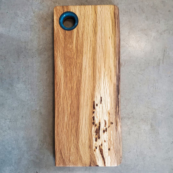 French Oak live edge Serving Board w/ Blue Epoxy Handle - Todd Alan Woodcraft