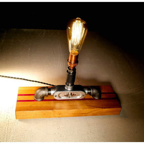 Steel and Copper with French Oak and Purple Heart Base lamp - Todd Alan Woodcraft