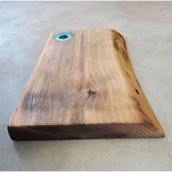 Walnut Serving Board with Emerald Blue Epoxy Handle - Todd Alan Woodcraft