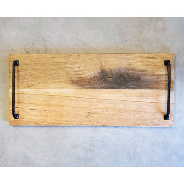 Normandy Oak Serving Board with Wrought Iron Handles. - Todd Alan Woodcraft
