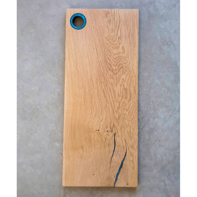 Oak Serving Board with Blue Epoxy Ring Handle