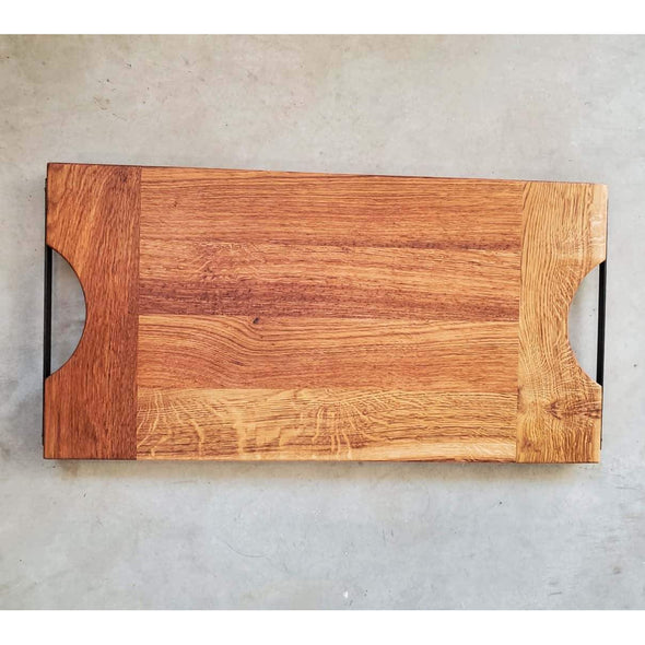 French Oak with Steel Handle Serving Board - Todd Alan Woodcraft
