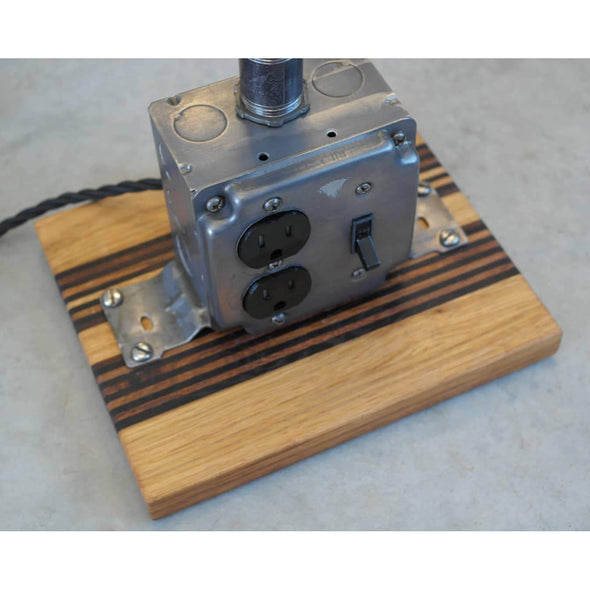 Steel Outlet Box Lamp on Custom French Oak, Roasted Oak and Wenge Base - Todd Alan Woodcraft