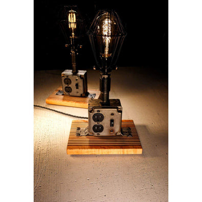 Raw Steel Industrial Edison Lamp on Figured Maple Base and Roasted Oak Base - Todd Alan Woodcraft