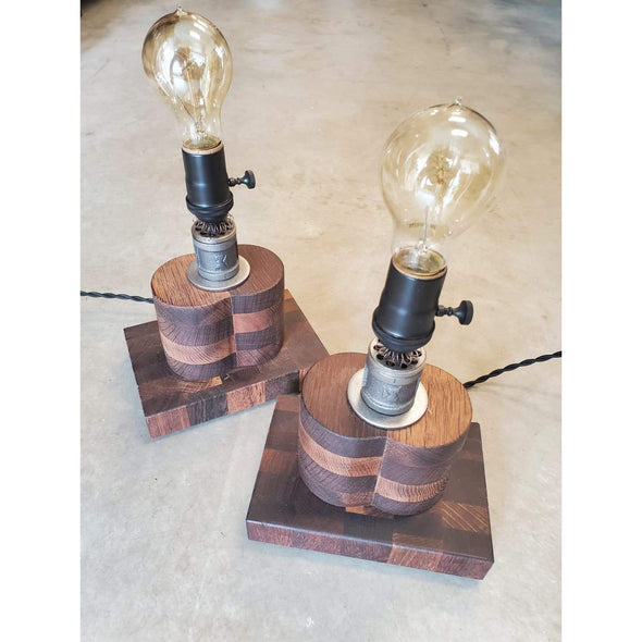 Roasted Oak and Steel Lamp - Todd Alan Woodcraft