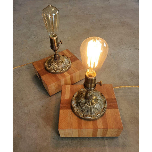 Antique Brass Rosette Edison Lamps - Todd Alan Woodcraft