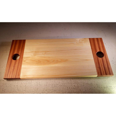Sapele and Ash Serving Board with round handholds. - Todd Alan Woodcraft