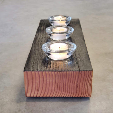 Shou Sugi Ban Deep Char Fir Candle Holders - Todd Alan Woodcraft