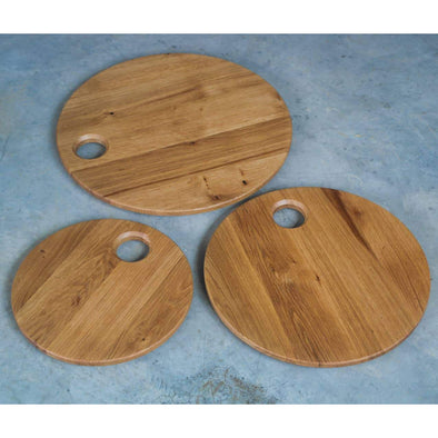 The Food Pallet - Round Beveled French Oak Serving Board - Todd Alan Woodcraft