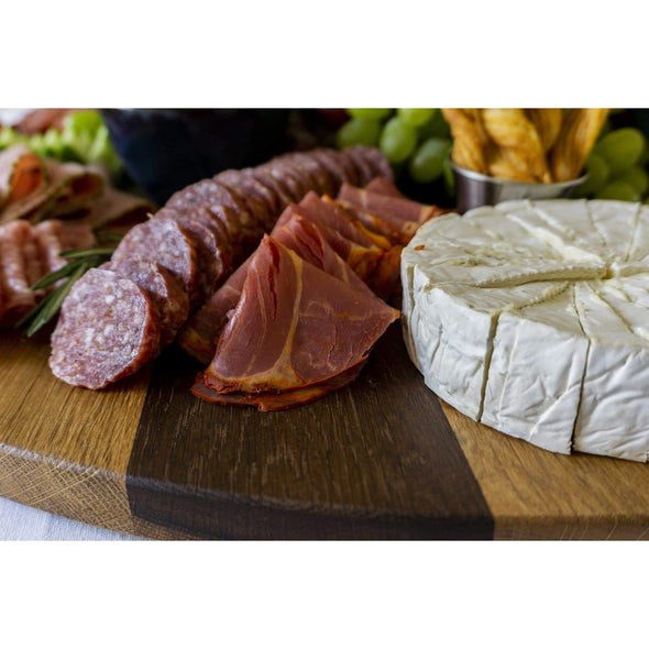 Round French Roasted Oak Charcuterie Board With Wrought Iron Handles - Todd Alan Woodcraft