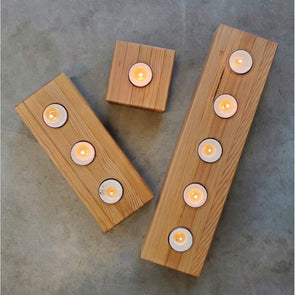 Reclaimed Vertical Grain Fir Tea Light Candle holder - Todd Alan Woodcraft