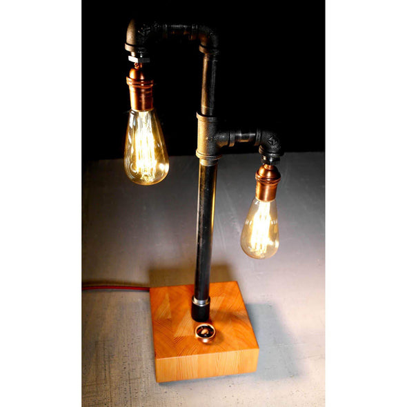 VG Reclaimed Old Growth Fir Steel and Copper Lamp - Todd Alan Woodcraft