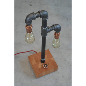 Steel and Copper Piping with Reclaimed Old Growth VG Fir Lamp Base - Todd Alan Woodcraft
