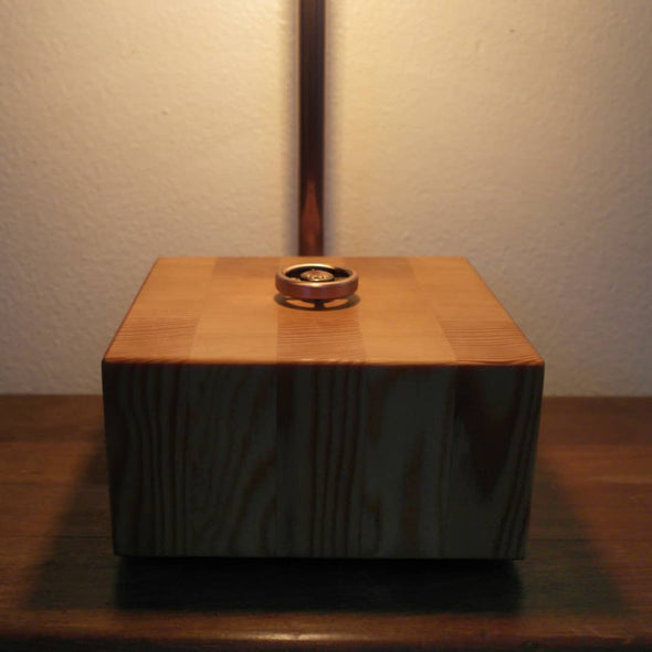 Vintage Copper and Steel Water Pipe Lamp with VG Fir base. - Todd Alan Woodcraft