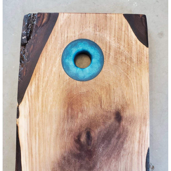 Walnut Board with Blue-Green Epoxy Handle - Todd Alan Woodcraft