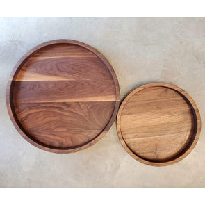 Round Carved Walnut Platters - Todd Alan Woodcraft
