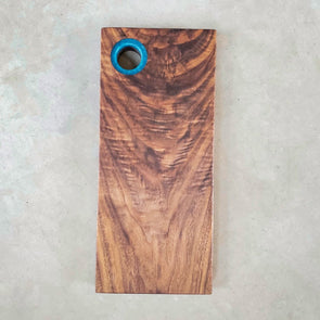 Walnut Serving Board w/ Blue Expoxy Ring Handle - Todd Alan Woodcraft