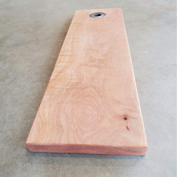 Madrone Serving Board with Silver Epoxy Handle Ring - Todd Alan Woodcraft