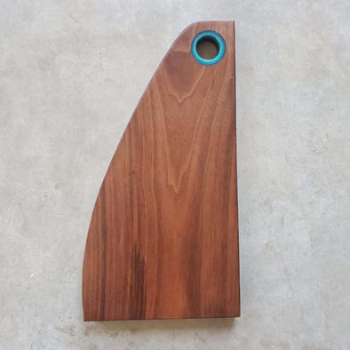 Walnut Serving Wedge with blue epoxy - Todd Alan Woodcraft