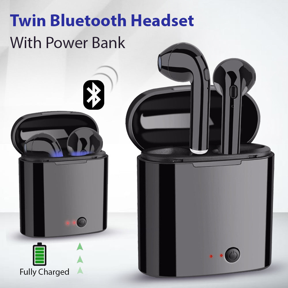 Twin Bluetooth Headset With Power Bank, White