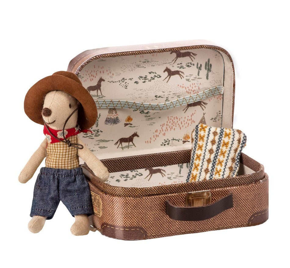Maileg Mouse, Cowboy in suitcase